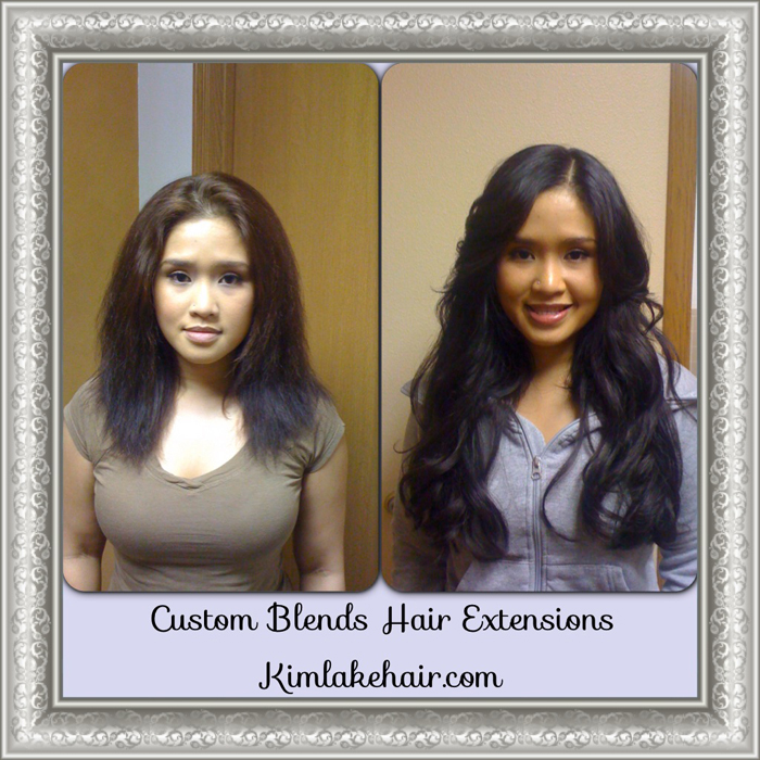 Hair extensions before and after picture.