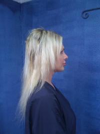 Jamie's hair extensions before
